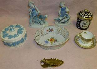 Lot Porcelain -- Basket -- Wedgwood -- Figurines