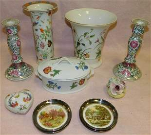 Lot Porcelain Vases, Candlesticks -- Covered Dish