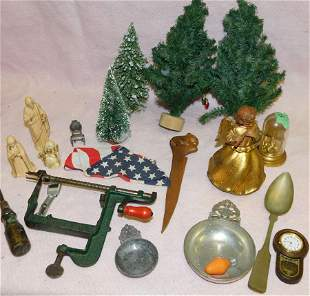 Lot Christmas Items -- Train Engine -- Apple Peeler