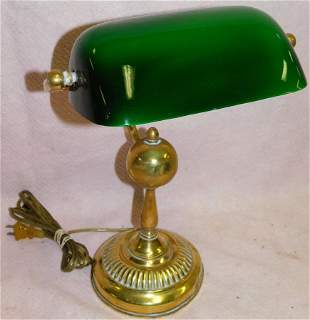 Antique Brass Student Lamp W / Glass Shade