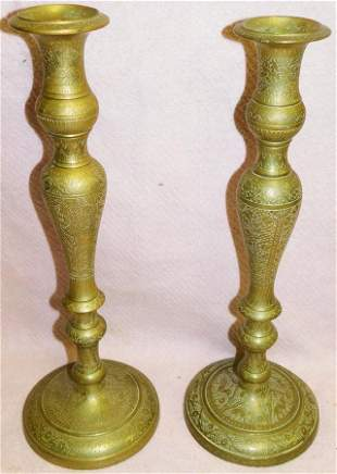 Pair Antique Brass Candlesticks