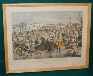 Currier & Ives Print - Central Park Winter