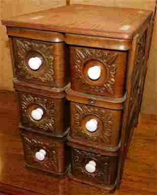 Vintage Oak Sewing Machine Drawers