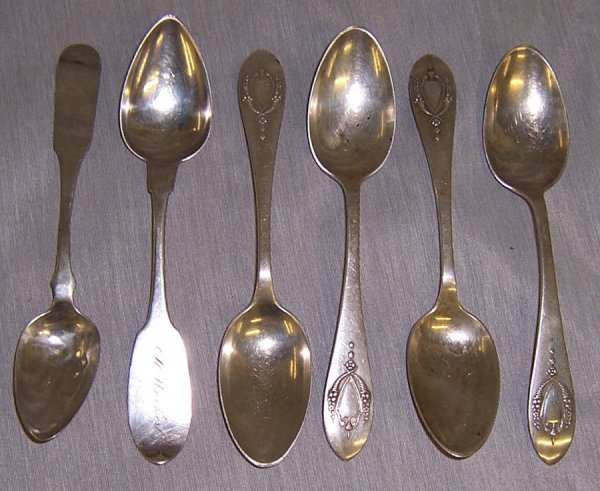 2: (6) Sterling and coin silver spoons, 4.2 t oz.