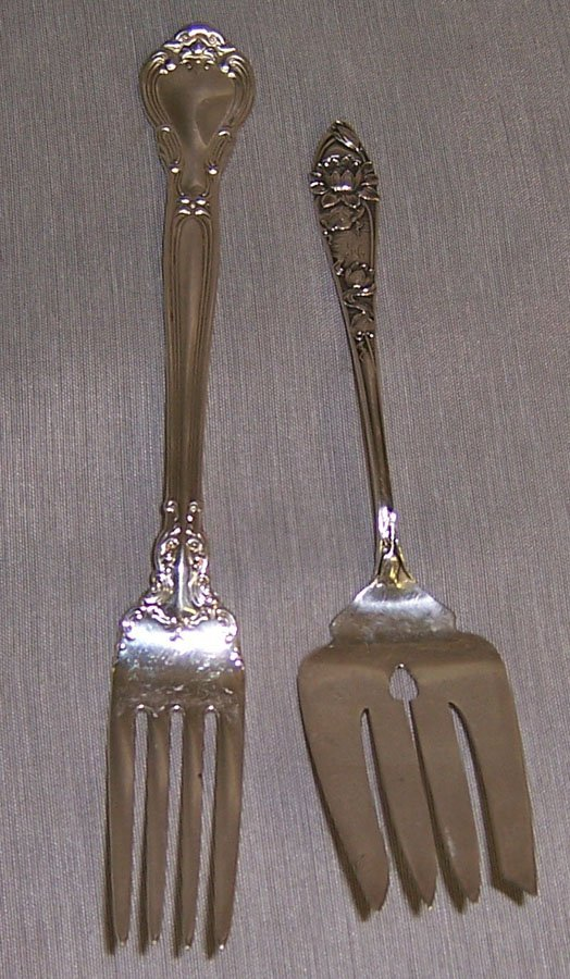 3: Chantilly dinner fork, rose pattern serving fork