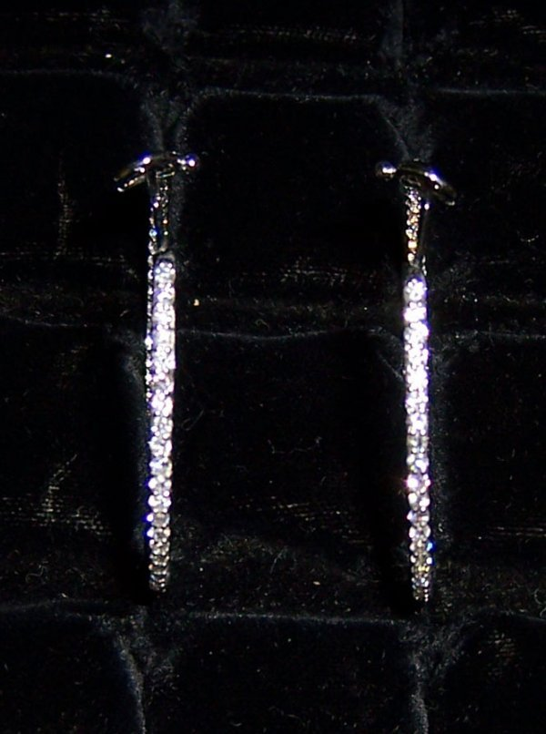 20: Pair ladies inside out diamond hoop earrings