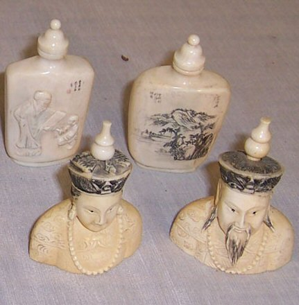 25: (4) Carved scrimshaw ivory snuff bottles (lot)