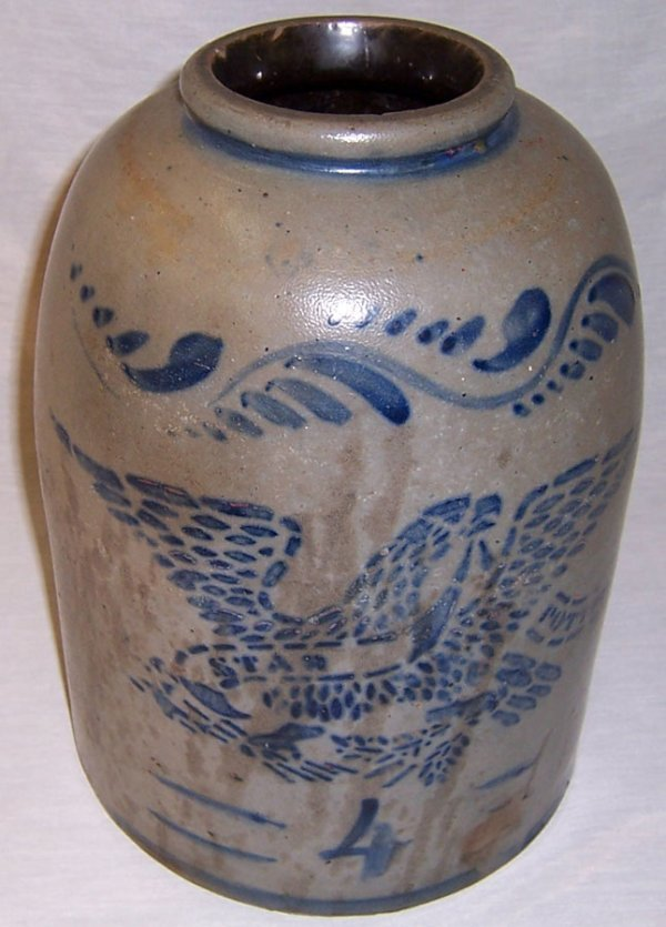 74: Star pottery (4) gallon eagle stencil crock