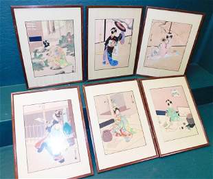 6 Oriental Watercolors Signed W/ Char Marks