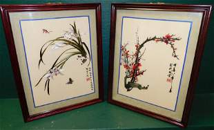 Pair Oriental Framed Embroideries