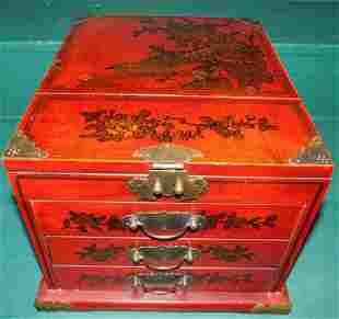 Red Lacquer Pnt Dec Oriental Shaving Stand