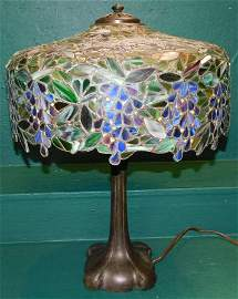 Leaded Stain Glass Lamp Signed Handel