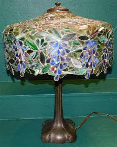 Leaded Stain Glass Lamp Signed Handel