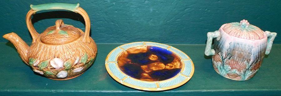 Majolica Teapot,Wedgwood Plate,Biscuit Jar