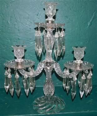 Three Branch Pattern Glass Candelabra W/ Prisms