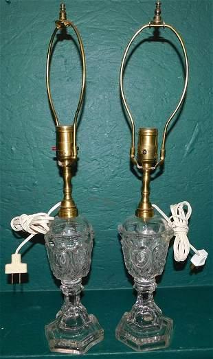 Pr Antique Pattern Glass Whale Oil Lamps (Electrified)