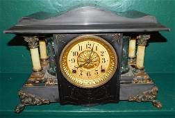 Antique Painted Metal Shelf Clock By Seth Thomas