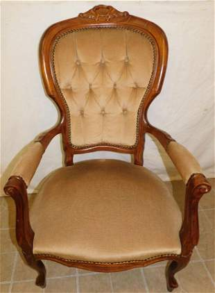 Walnut Carved Victorian Style Arm Chair