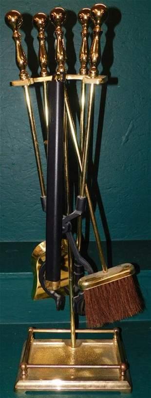 5 Pc Brass Fire Place Tool Set