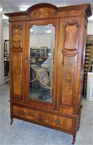 Burl Walnut Inlay Victorian Armoire