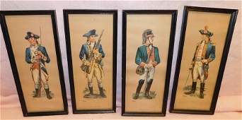 Four Framed Prints Of Continental Soldiers