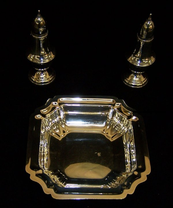 2: Sterling small bowl & pr of salt & pepper shakers