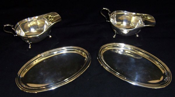 3: Two 925 silver trays and (2) English gravy boats