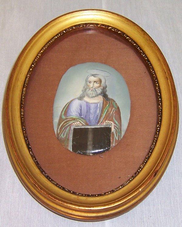 12: Miniature oil painting of Christ on metal