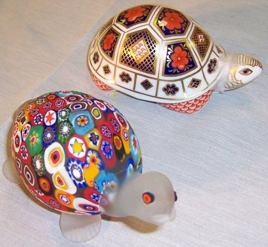 16: Royal Crown Derby turtle and Millifiori turtle