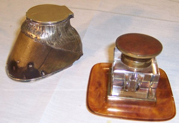 17: Celluloid and brass inkwell and hoof foot inkwell