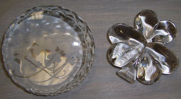 23: Waterford flower paper weight & crystal paperweight