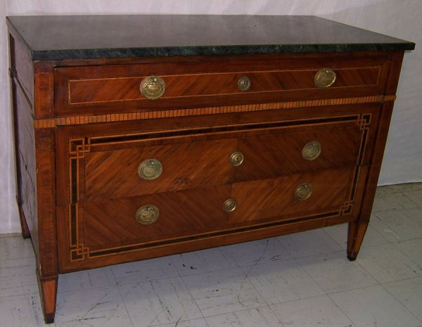 65: 18th century Italian (3) drawer inlaid MT commode