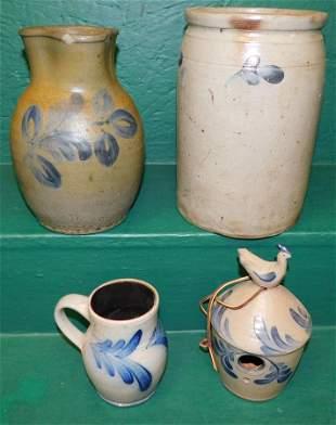 4 Pc Blue Decorated Salt Glaze Pottery