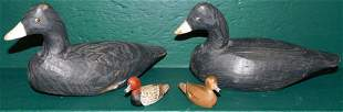 Four Hand Painted Wooden Duck Decoys
