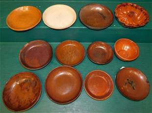 12 Pc Redware Pottery