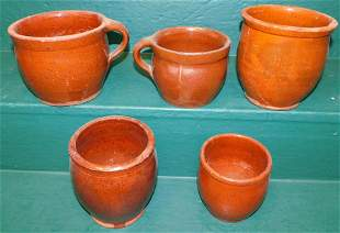 5 Pc Redware Pottery