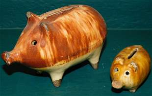 Two Antique Pottery Piggy Banks