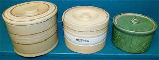 Three Butter Crocks (2 are Yellow Ware )