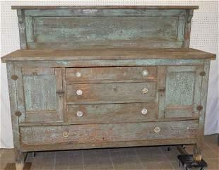 Antique Primitive Painted Side Board