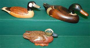 Three Carved Wood Painted Decorated Duck Decoys
