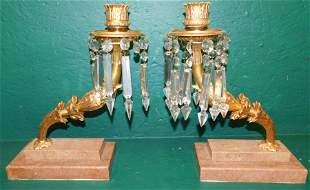 Pair Gilt Bronze Candlesticks On Marble Bases