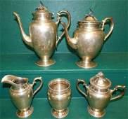 """5 Pc Sterling Tea Set """"Violet"""" (76.5 Toz)"""
