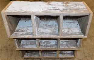 Primitive Painted Heart Pine Cubicle Shelf