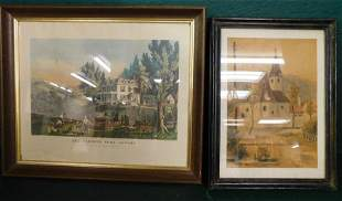 Framed Currier Ives Print &  A Watercolor