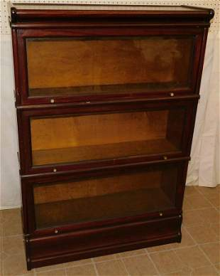 3-Section Mah Barrister Bookcase (Back Needs Work)