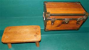 Antique Doll Trunk W/ Contents & Pine Stool
