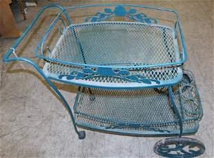 Painted Wrought Iron Tea Cart