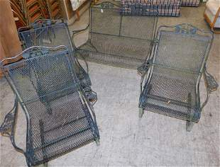 Wrought Iron Bench & Three Arm Chairs