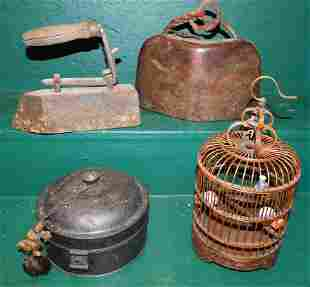 Lot Tole Box, Oriental Wood Bell, Flat Iron, Bird Cage
