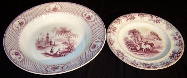 6: Two early plates (Wedgwood, Staffordshire)